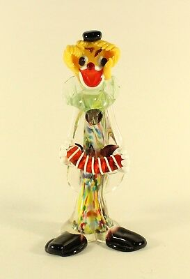 Murano Original Glass Clown Concertina Multicolored Glass Venezia Italian Label