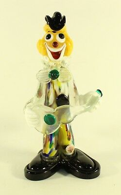 Murano Small Bow Glass Clown Guitar Multicolored Glass Venezia Italian w/ Label