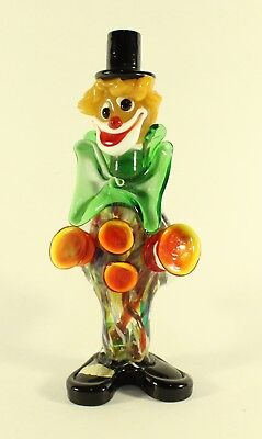 Murano Large Bow Glass Clown W/ Cymbols Sax Multicolored Glass Venezia Italian