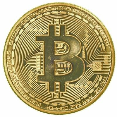 Golden Bitcoin Commemorative Round Collectors Coin Bit Coin is Gold Plated Coins