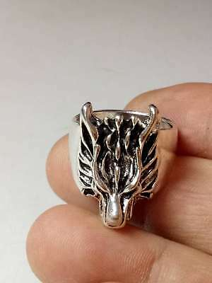 Chinese Collectable Tibet Silver Hand Carved Wolf Ring