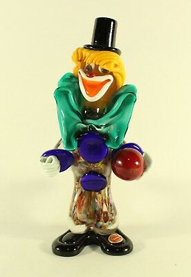 Vintage Clown Bowling Player Murano Glass Veneziano Italian Figurine W/ Sticker