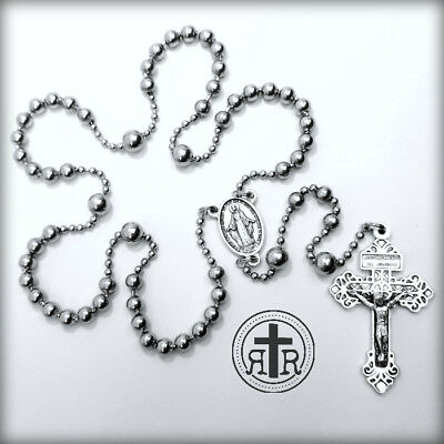WWI Battle Beads® Military Service Combat Rosary in Stainless Steel