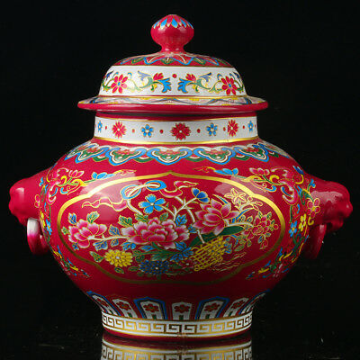 Chinese Porcelain Hand-painted Flowers Vase W Qianlong Mark R1113