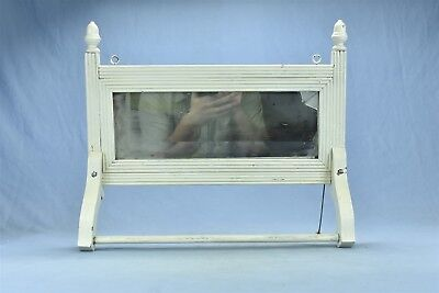Antique SHABBY PAINTED WHITE BATHROOM SHAVING MIRROR with TOWEL BAR OLD #05345