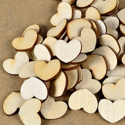 100Pcs Mini Wooden Love Heart Pieces Painting Craft Cardmaking Scrapbooking