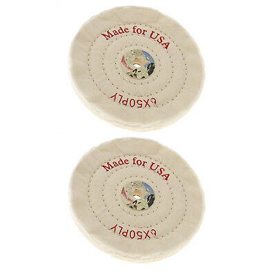 """2x 6"""" Stitched Cotton Buffing Wheel 150mm Polishing Mop Bench Grinder Tool"""