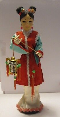 """Vintage Chinese Doll with Lantern 9 3/4"""" Tall Beautifully Detailed"""