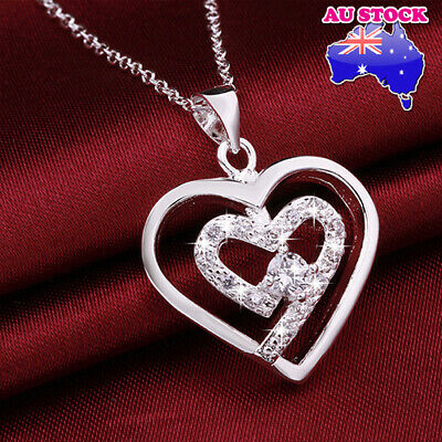 Classic Wholesale 925 Sterling Sliver Filled Clear Crystal Love Heart Pendant