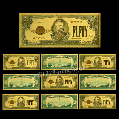 10PC USD $50 Dollar 1928 Year Banknote 24k Gold Foil Monye Collectible Art Gifts