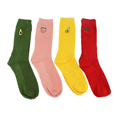 Women's Cotton Socks Cute Fruit Print Retro Embroidery Cartoon Long High Hosiery