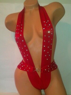 Exotic dancewear-Red One Piece Harness