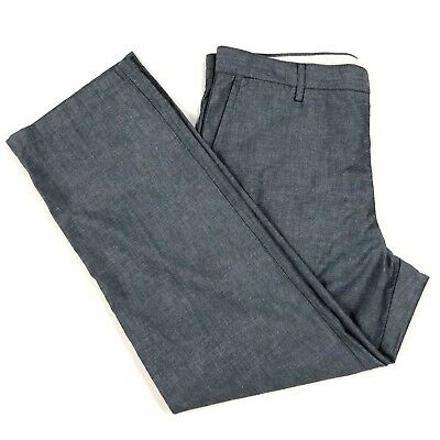 Mens DOCKERS Pacific Collection Field Khaki Blue Chambray Flat Front 36 X 30