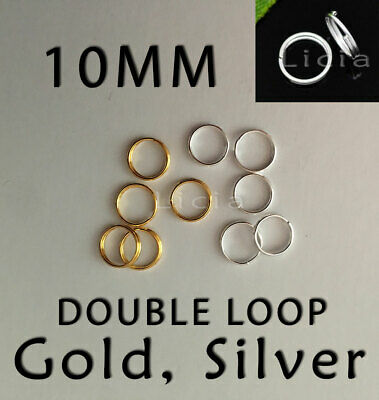 10mm Double Open Jump Rings Silver Round Split Ring Circle Bracelet Necklace 1cm