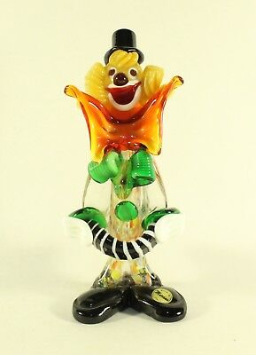 Murano Large Bow Clown With Ball Art Glass Veneziano Italian Figurine W/ Label