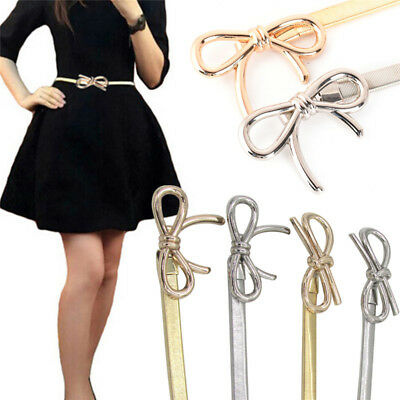 Women Metal Belt Bow Clasp Front Stretch Waist Strap Skinny Elastic Waistband RS