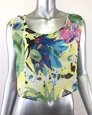 0c70b62c353 Chandelier Medium Yellow Blue Pink Green Crop Top Womens Floral Sheer NWT
