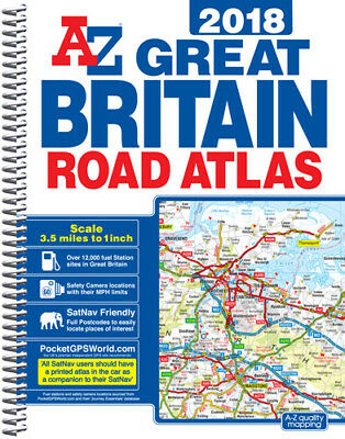 Great Britain Road Atlas: 2018 by A-Z Map (A4 Spiral bound)
