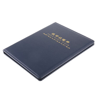 60 Pockets Paper Money Collection Album Leather Bill Notes Book Holders Blue