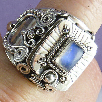 Poison/Pill Box Ring Size US 9.5 SILVERSARI Solid 925 Sterling Silver MOONSTONE
