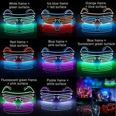 LED Glow EL Glasses Shades Light Up Flashing Blink Sunglasses Bar Party Rave