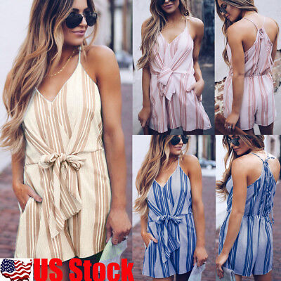 Women's Sleeveless Striped Short Mini Jumpsuit Playsuit Beach Party Romper Dress