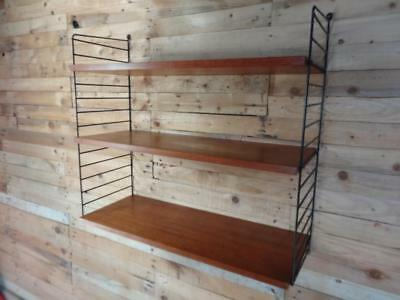 1960s RETRO STRING METAL LADDERS AND WOODEN SHELVES  WALL UNIT (B50)