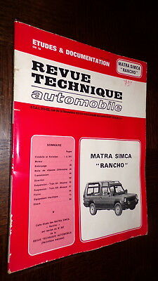 "REVUE TECHNIQUE AUTOMOBILE - 1979 -Matra Simca ""Rancho"""