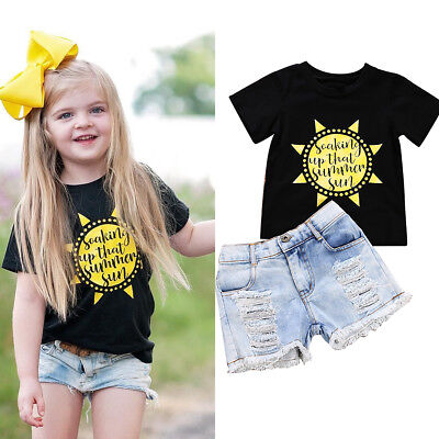 2Pcs Lovely Kids Baby Toddler Girl Clothes T-shirt Tops Jeans Leggings Outfits