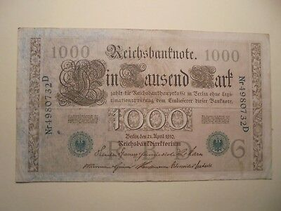 Antique 1000 Mark German Banknotes 21/4/1910 108 Years Old Green Seal.