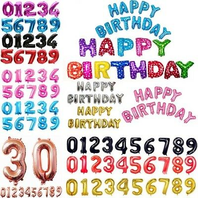 Self Inflating Happy Birthday Banner Balloon Bunting Numbers Large Letters Foil