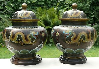 A Pair of Chinese Cloisonne Jars and Covers, Decorated with Dragons, Late Qing