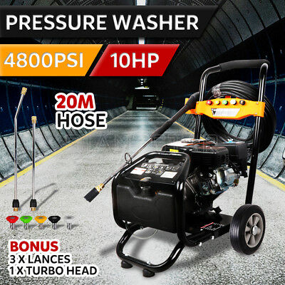 NEW 10HP 4800PSI High Pressure Washer Car Cleaner Petrol Water Gurney 20M Hose