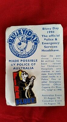 Emergency Services Fireman Bluey Day Pin Badge 1998