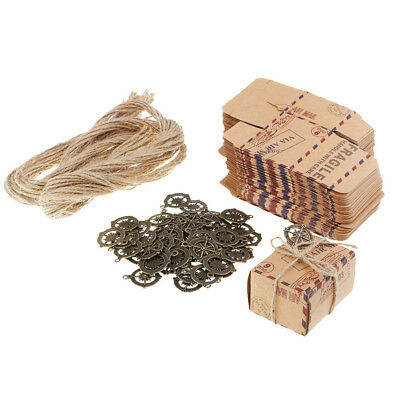 Vintage Kraft Paper Candy Gift Box Travel Theme Airplane Air Mail Gift Boxes