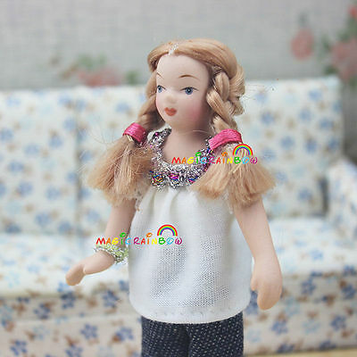Doll Mini Girl Adorable Blonde Two Braids Dolls House Miniatures 1:12 Scale