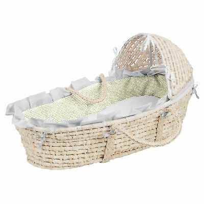 NATURAL Hooded Moses Basket - White/Sage Gingham Bedding