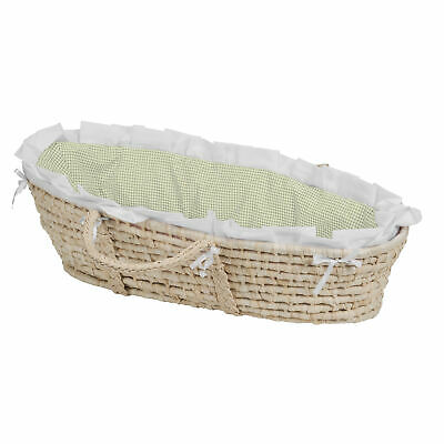 NATURAL Moses Basket-Sage Gingham Bedding (no hood)