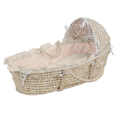 NATURAL Hooded Moses Basket - Ecru/Beige Gingham Bedding