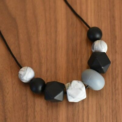 Handmade Silicone Teething Black Grey Bead Necklace Teether baby shower gift