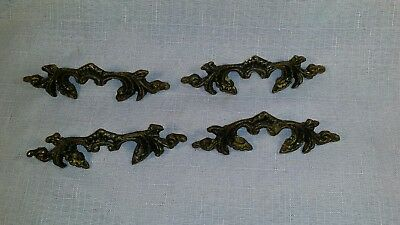 4 vintage ornate brass drawer pulls finished in an antique finish