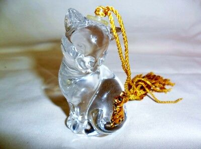 Crystal Cat with Gold tone Mouse Ornament Figurine Czech Republic