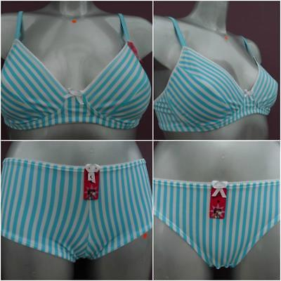 Boobs & Bloomers Non-wired Teen 34B Bra or Short or Brief Blue & White Stripe