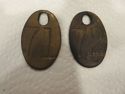 Vintage Brass  Number Tags Dairy Farm Cattle Double Sided Original #71 & #72