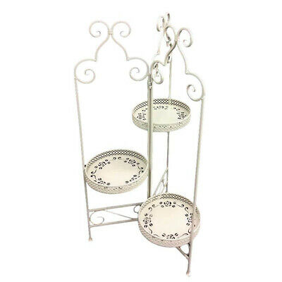 French Country Wrought Iron Metal Vintage Rose Plant Stand Cream 3 Tier New