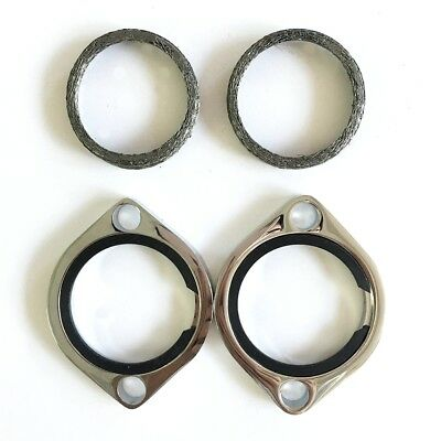 Chrome Exhaust Flange Kits For Harley Evolution 1984-Up with Tapered Gaskets