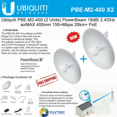 Ubiquiti PowerBeam M2 PBE-M2-400 2.4GHz 400mm airMAX Bridge Reflector Dish (X2)