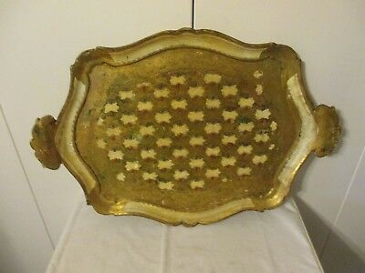 "Vintage Italian Florentine Ornate Gold/Cream/Teal Tray/ Platter 23"" x 16"""