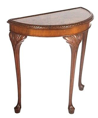 Vintage English Walnut Demi Lune Console Table - FREE Shipping [ PL4410 A ]