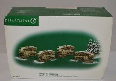 Dept. 56 Village Accessories STONE CURVED WALL/BENCH - 52650